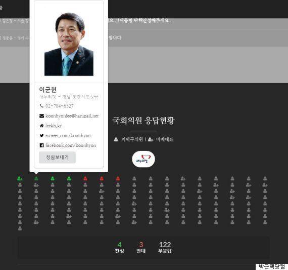 '박근핵닷컴'에서 새누리 의원 4명이 대통령 탄핵에 '찬성'을