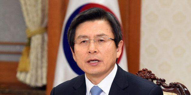 9일 오후 서울 정부서울청사에서 열린 국가안보회의(NSC)에서 황교안 대통령 권한대행이발언하고