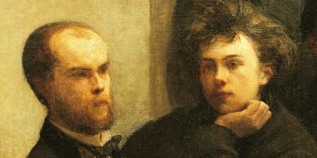 FRANCE - MAY 15: Verlaine, Rimbaud and Bonnier, detail from Corner of a table, 1872, by Henri Fantin-Latour...