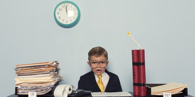 A young executive is not going to meet his deadline.