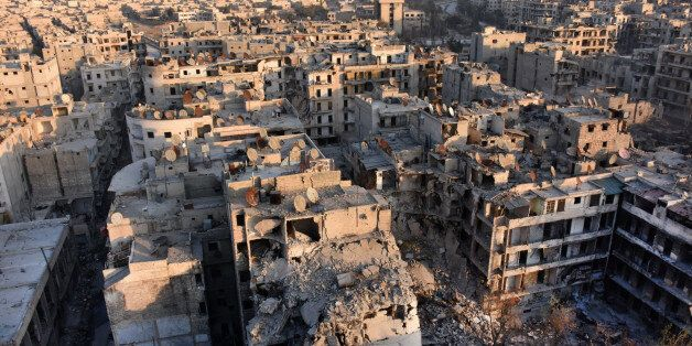 A general view of Aleppo taken from the top of a building in the city's Bustan al-Basha neighbourhood...