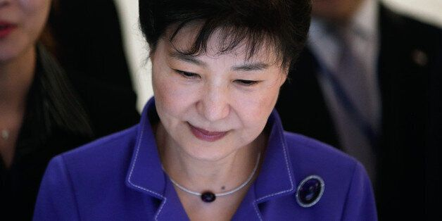 South Korea's President Park Geun-hye visits an exhibition on South Korea's culture, at the Bercy Arena...