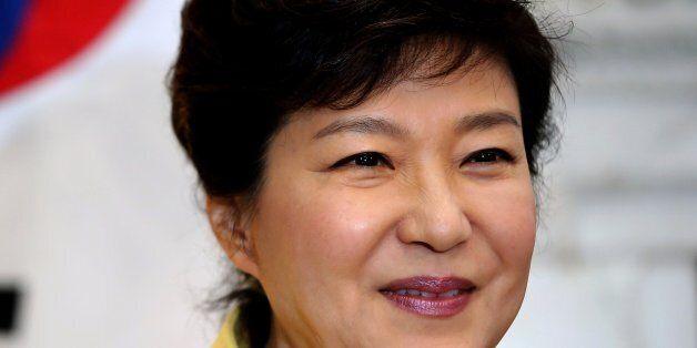 LONDON, ENGLAND - NOVEMBER 06: South Korea's President Park Geun-Hye speaks to the media inside 10 Downing...