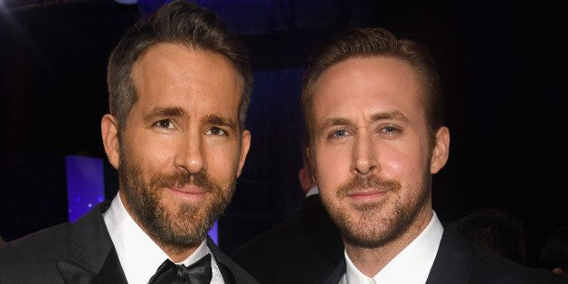 SANTA MONICA, CA - DECEMBER 11: Actors Ryan Reynolds (L) and Ryan Gosling attend The 22nd Annual Critics'...