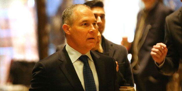 NEW YORK, NY - DECEMBER 07: Oklahoma Attorney General Scott Pruitt arrives at Trump Tower on December...