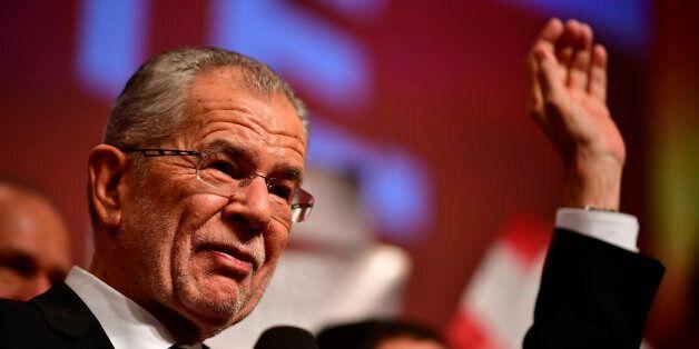 VIENNA, AUSTRIA - DECEMBER 04: Austrian independent presidential candidate Alexander van der Bellen cheers...