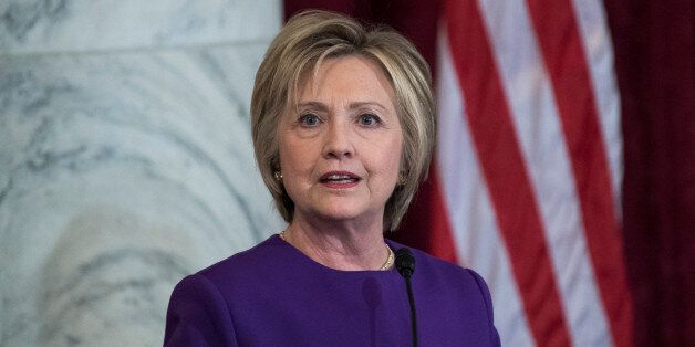UNITED STATES - DECEMBER 08: Former Secretary of State Hillary Clinton speaks during a portrait unveiling...