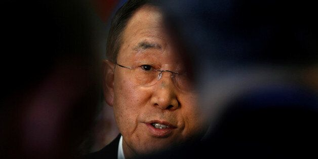 United Nations Secretary General Ban Ki-Moon is seen during an interview with Reuters at U.N. headquarters...