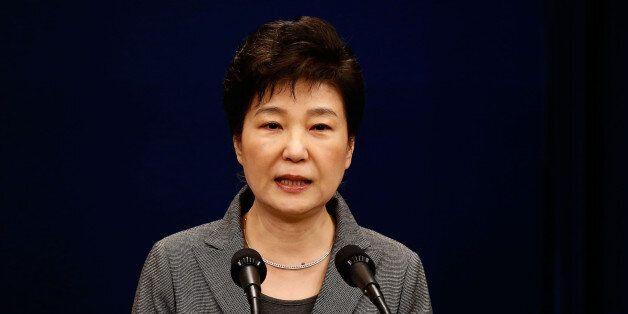 SEOUL, SOUTH KOREA - NOVEMBER 29: South Korean President Park Geun-Hye makes a speech during an address...