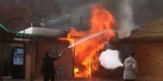 페이스북의 한 사용자가 촬영한 박정희 전 대통령 생가 화재 현장의