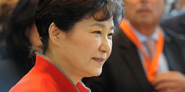 South Korean President Park Geun-Hye looks on as she visits the French multinational industrial gas company...