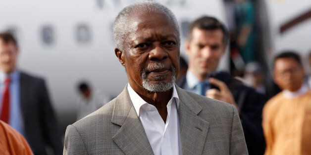 Former U.N. Secretary-General Kofi Annan arrives as he visits in his capacity as Myanmar government-appointed...