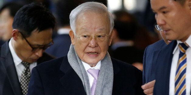 CJ Group chairman Sohn Kyung-shik arrives to attend a hearing at the National Assembly in Seoul, South...