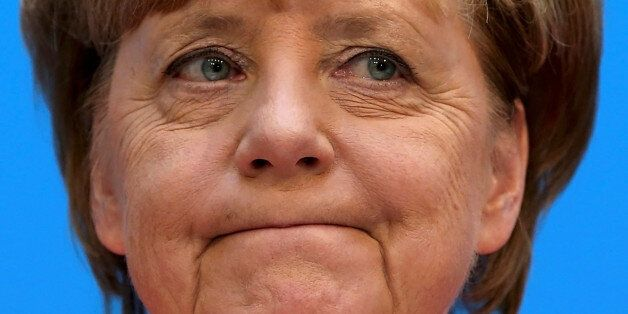 German Chancellor and chairwoman of the Christian Democratic Union (CDU) Angela Merkel addresses a news...