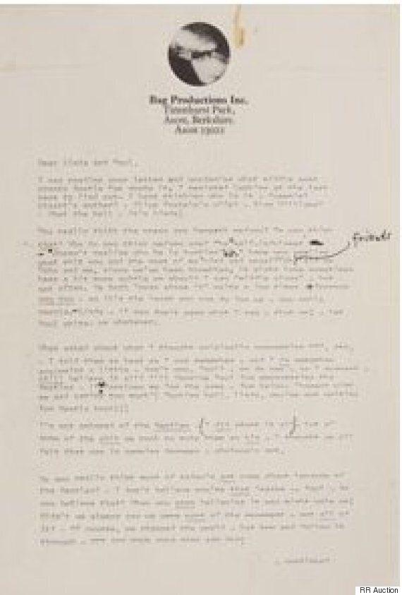 폴 매카트니에 대한 존 레넌의 진심이 담긴 편지가