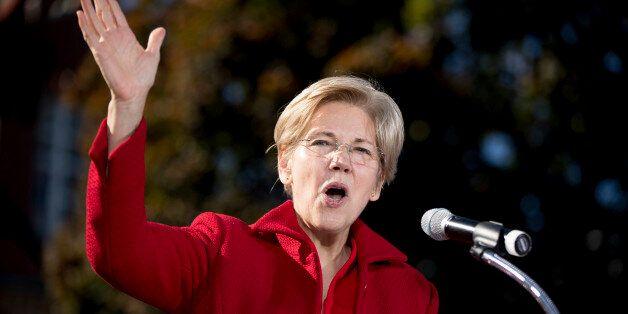 Sen. Elizabeth Warren, D-Mass. speaks at a rally for Democratic presidential candidate Hillary Clinton...