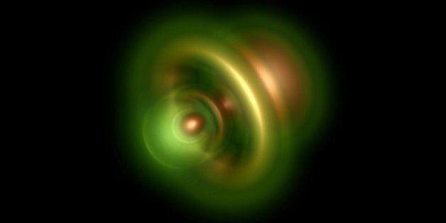 헬륨 원자에서 광자가 전자를 제거하는 사진. 남은 전자는 밝은 핵 근처에 있을 가능성이