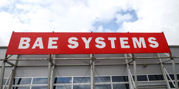 The BAE Systems Plc logo stands on display on the second day of the Farnborough International Airshow...