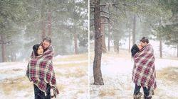 추위에 얼어붙은 가슴을 따뜻하게 만들어주는 눈 속 연인들의 모습