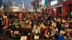 김진태 사무실 앞에는 오늘도 촛불이