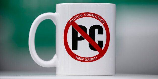 A mug with text 'Political correctness - No thank you!' is pictured at the congress of the anti-immigration...