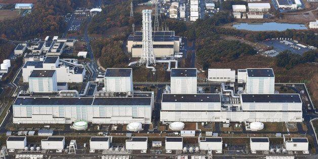 An aerial view shows Tokyo Electric Power Co.'s Fukushima Daini nuclear power plant in Naraha town, Fukushima...