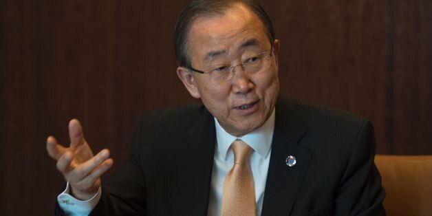 The United Nations Secretary General Ban Ki-moon answers questions during an interview with Agence France-Presse...