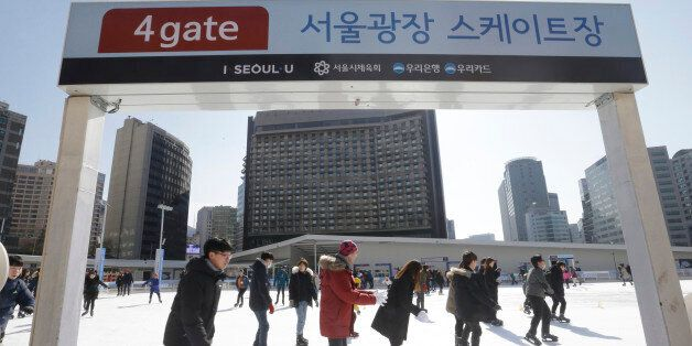 People skate at Seoul Plaza Ice Skating Rink in Seoul, South Korea, Friday, Feb. 5, 2016. Another big...