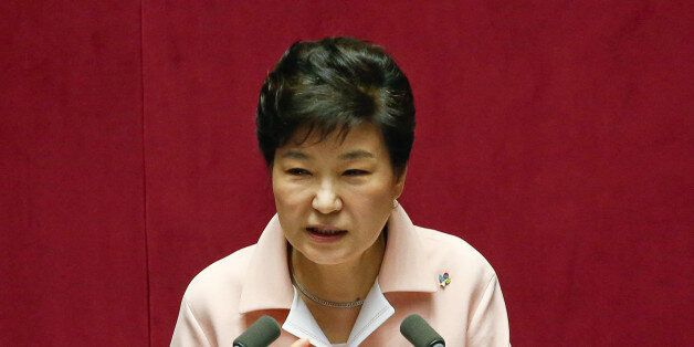 South Korean President Park Geun-hye delivers her speech during the inaugural session of the 20th National...
