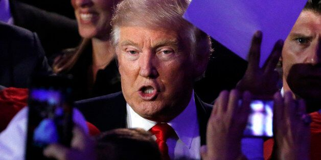 U.S. President elect Donald Trump greets supporters at election night rally in Manhattan, New York, U.S.,...