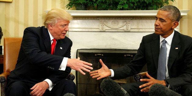 U.S. President Barack Obama meets with President-elect Donald Trump in the Oval Office of the White House...