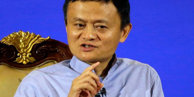 FILE - In this Oct. 11, 2016 file photo, Jack Ma, founder and chairman of Alibaba, delivers a speech