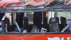 등산객 태운 관광버스가 경부고속도로에서 넘어져 4명이
