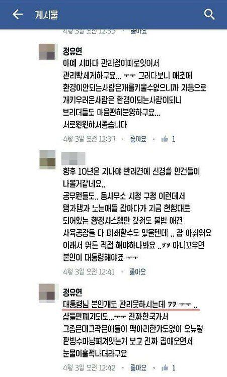 정유라로 추정되는 SNS에는 '청와대 진돗개'에 대한 언급도