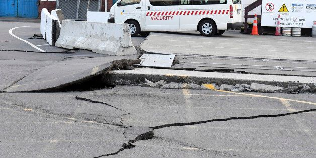 Fissures run along a road by the Centre Port in Wellington, Monday, November 14, 2016, after a major...