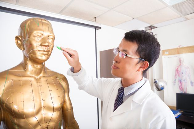 chinese medicine doctor teaching acupoint on human model in