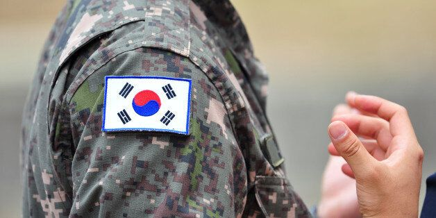 The Korean national flags attached to Republic of Korea army soldier's
