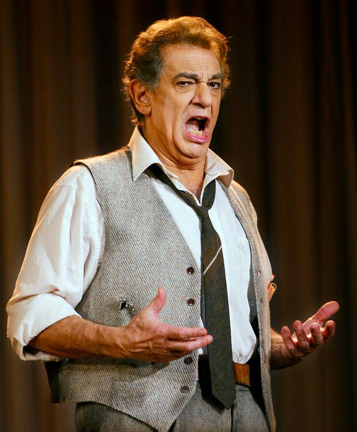 Spanish tenor Placido Domingo sings during a rehearsal in Copenhagen, Denmark Tuesday April 4, 2006.