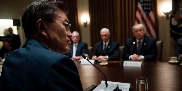 From left South Korea's President Moon Jae-in, US Secretary of Defense James Mattis, US Vice President...