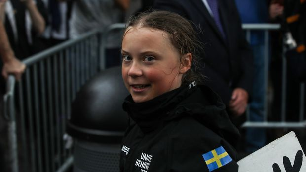 NEW YORK, UNITED STATES - AUGUST 28: Swedish climate activist Greta Thunberg (16) arrives in the US after a 15-day journey crossing the Atlantic in the Malizia II, a zero-carbon yacht in New York City, United States on August 28, 2019. (Photo by Atilgan Ozdil/Anadolu Agency/Getty Images)