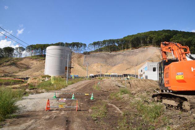 土砂崩れにあった浄水場=2019年9月1日