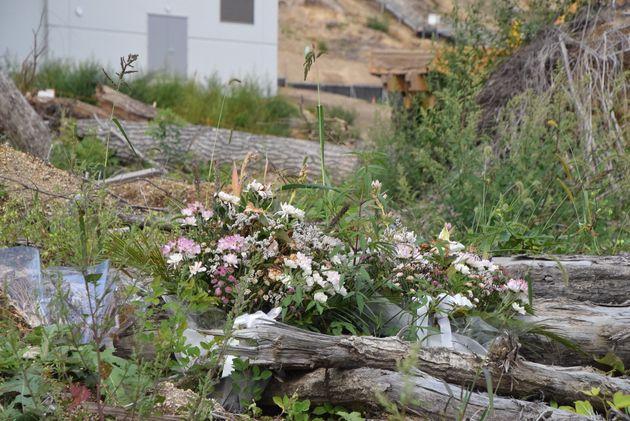 浄水場のあった場所には、家屋や施設だったがれきが積みあがっている。その手前には、いくつかの花が添えられていた=2019年9月1日