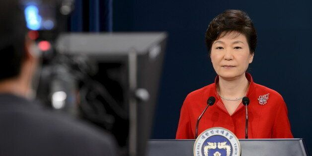 South Korea's President Park Geun-hye delivers a speech at the presidential Blue House in Seoul August...