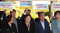 정의당 의원들이 검찰을 방문해 '최순실 즉각 체포 수사'를