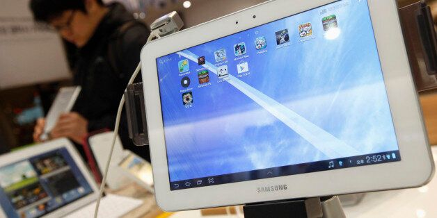 Samsung Electronics' Galaxy tablet computers are displayed at a store in Seoul January 24, 2013. Samsung...