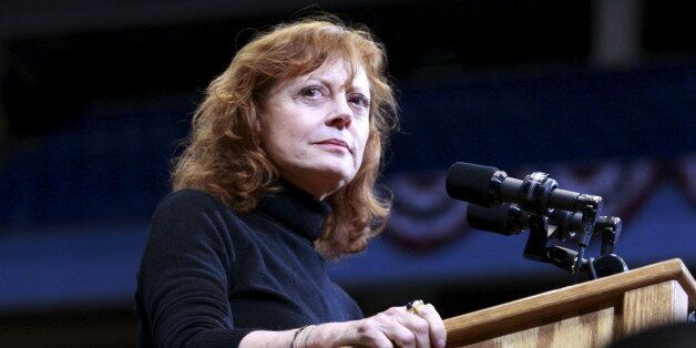 Actress Susan Sarandon speaks prior to Democratic U.S. presidential candidate Bernie Sanders holds a...