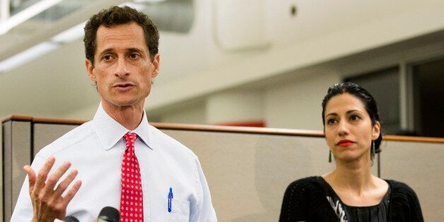 FILE - In this July 23, 2013 file photo, then-New York mayoral candidate Anthony Weiner speaks during...
