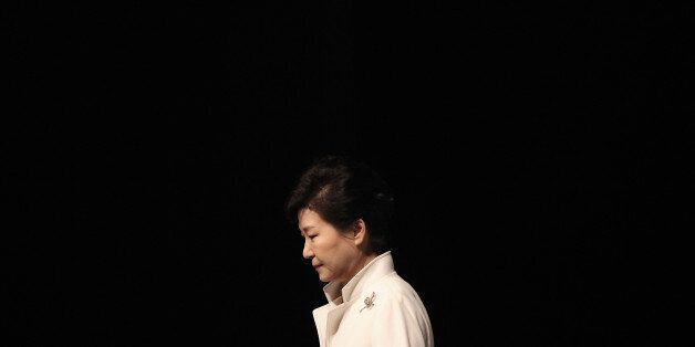 South Korean President Park Geun-hye leaves after a ceremony to celebrate the March First Independence...