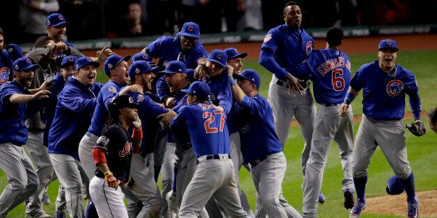 Chicago Cubs celebrate after Game 7 of the Major League Baseball World Series Thursday, Nov. 3, 2016,...