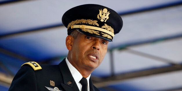 Incoming Commander Gen. Vincent K. Brooks speaks during a change of command ceremony for the United Nations...